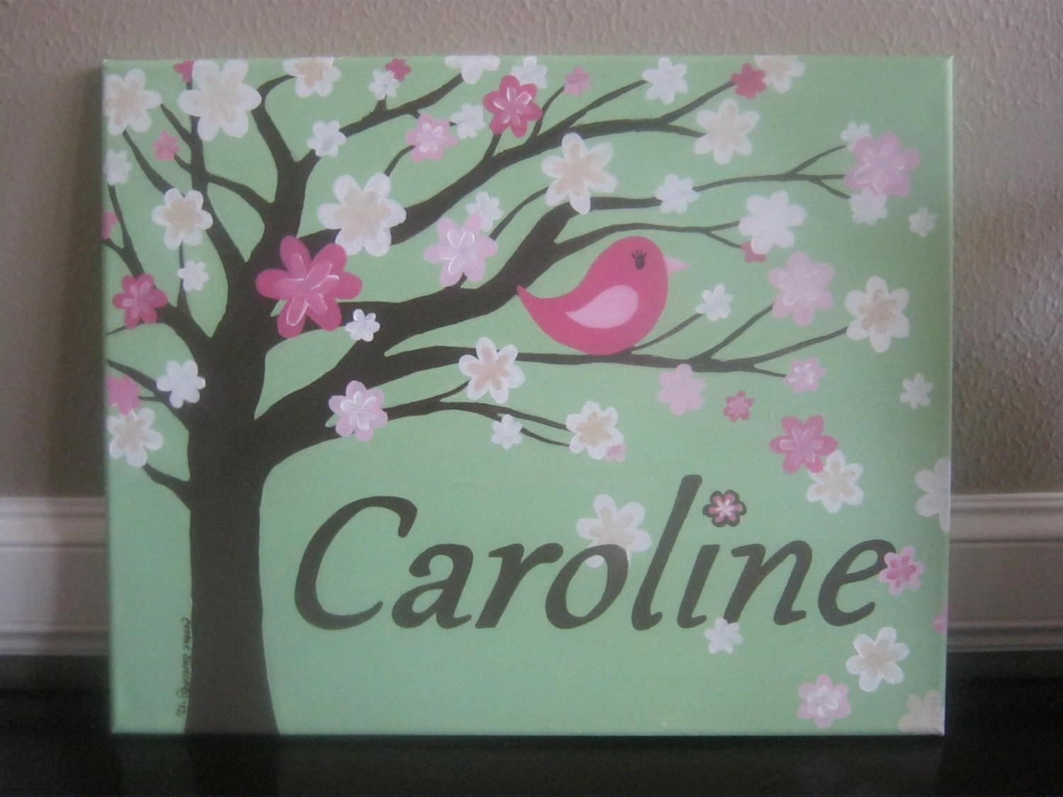 Nursery Painting Personalized Canvas Girl Room