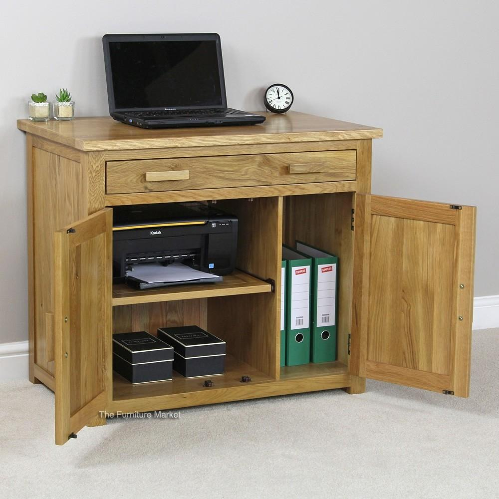 Oak Hideaway Computer Desk Home Office Minimalist