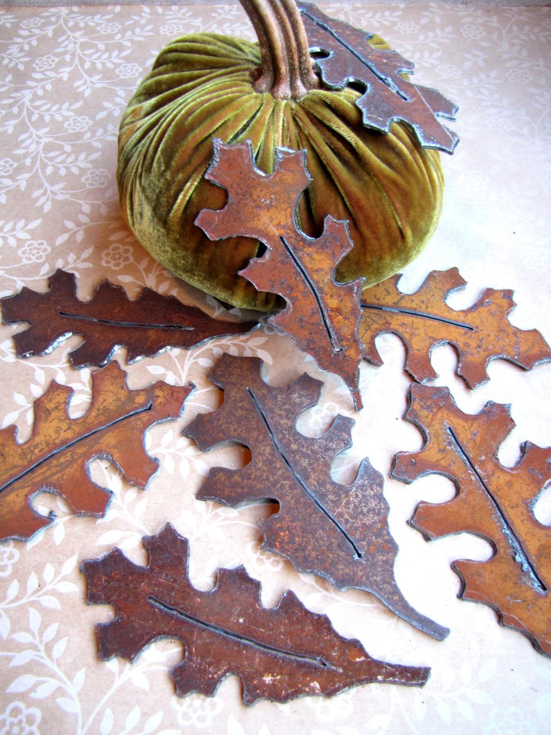 Oak Leaves Shabby Chic Table Decor Fall