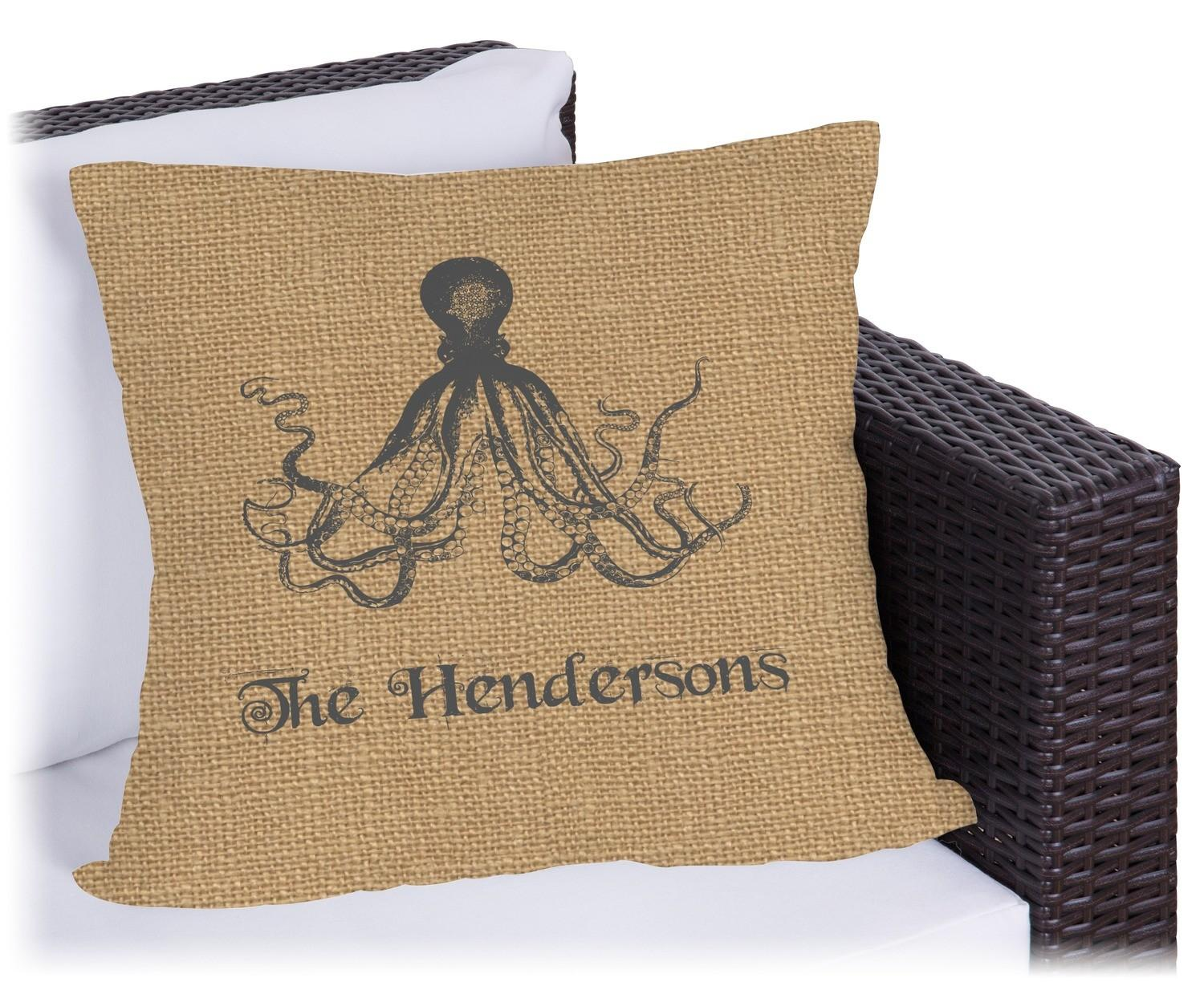 Octopus Burlap Print Outdoor Pillow Personalized