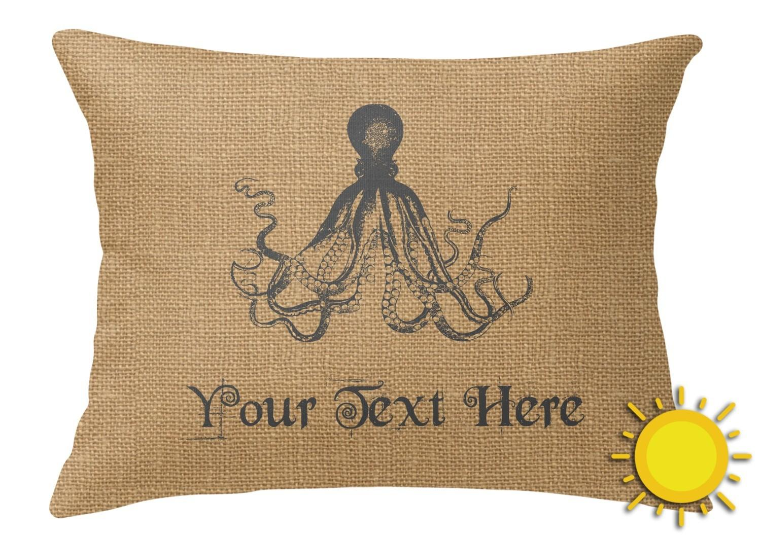 Octopus Burlap Print Outdoor Throw Pillow Rectangular