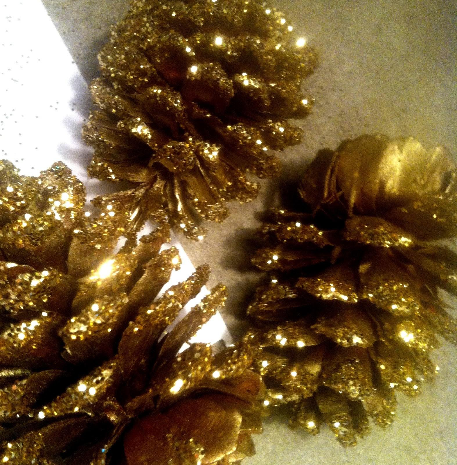 Ohdorable Design Diy Gold Glitter Pinecones