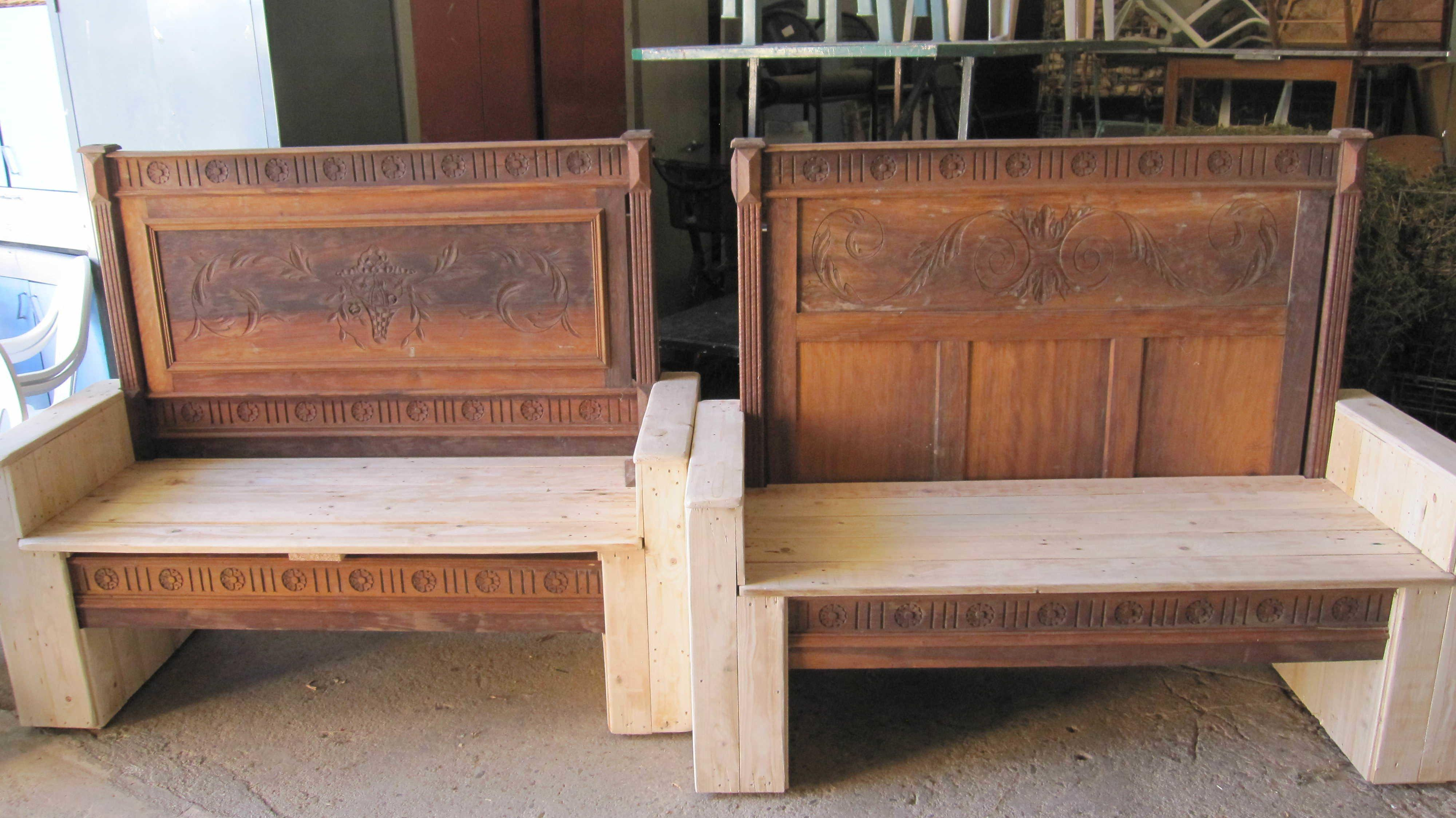 Old Bed Transformed Into Benches Using Pallets 1001