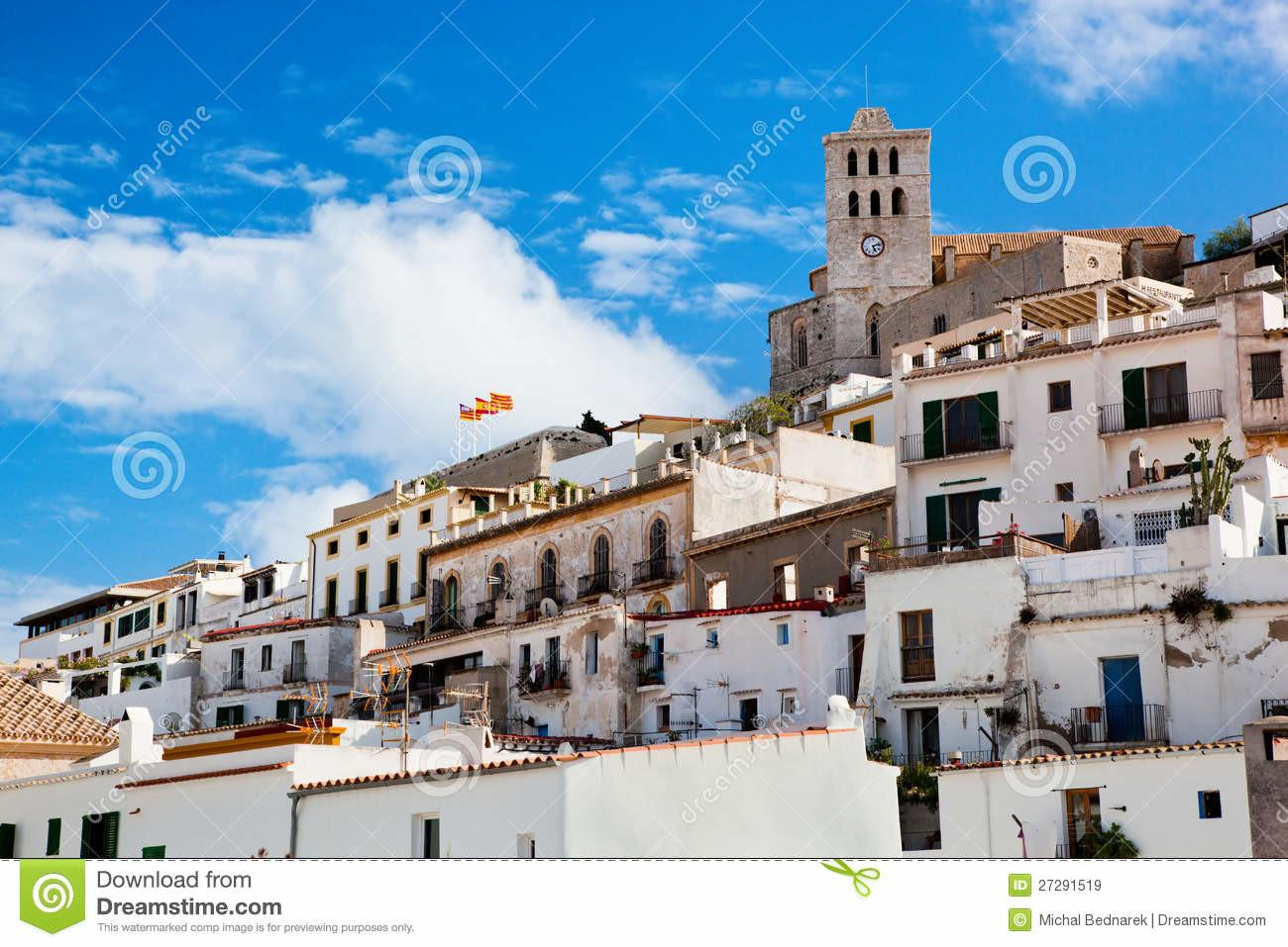 Old City Ibiza Spain Stock Hill