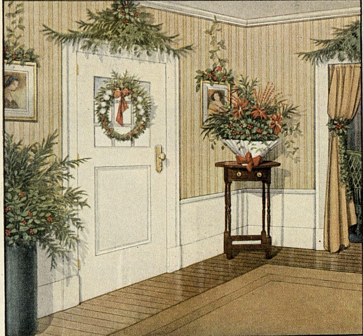 Old Fashioned Christmas Greenery Decorating Ideas