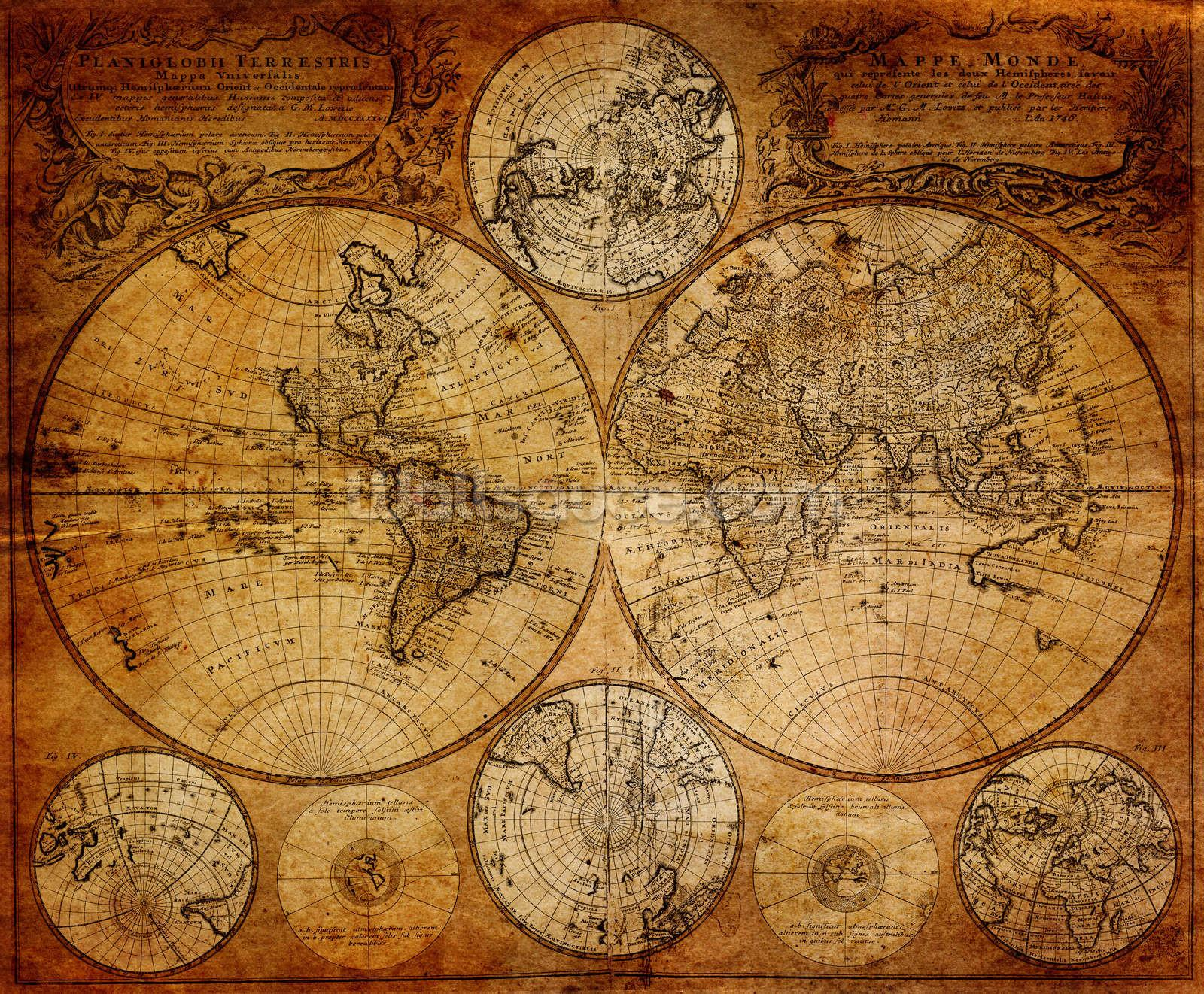 Old Globe Map 1746 Wall Mural Wallsauce