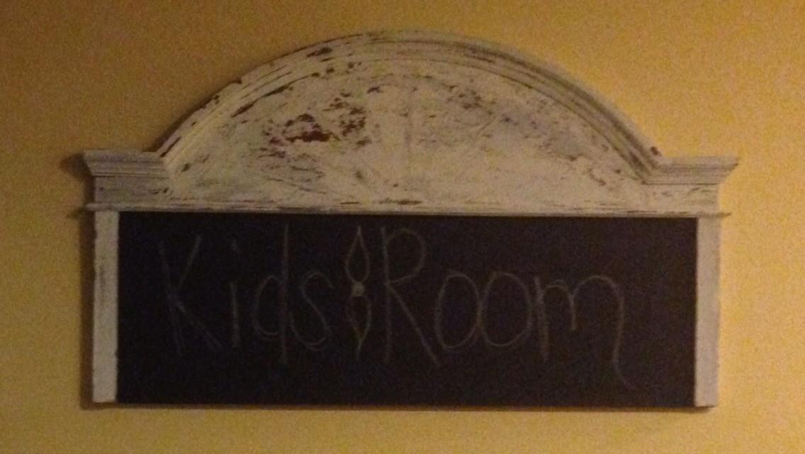 Old Headboard Made Into Chalkboard Kids Game
