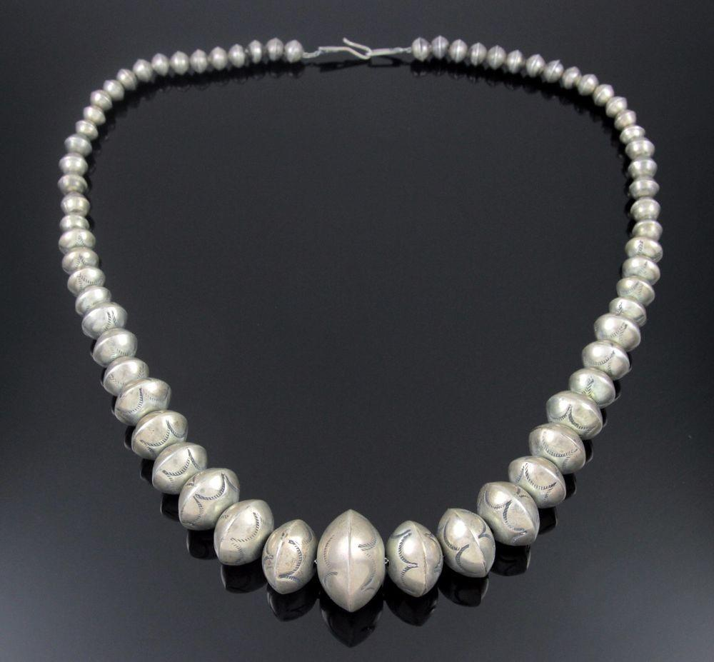 Old Navajo Sterling Silver Graduated Stamped Bead Pearl