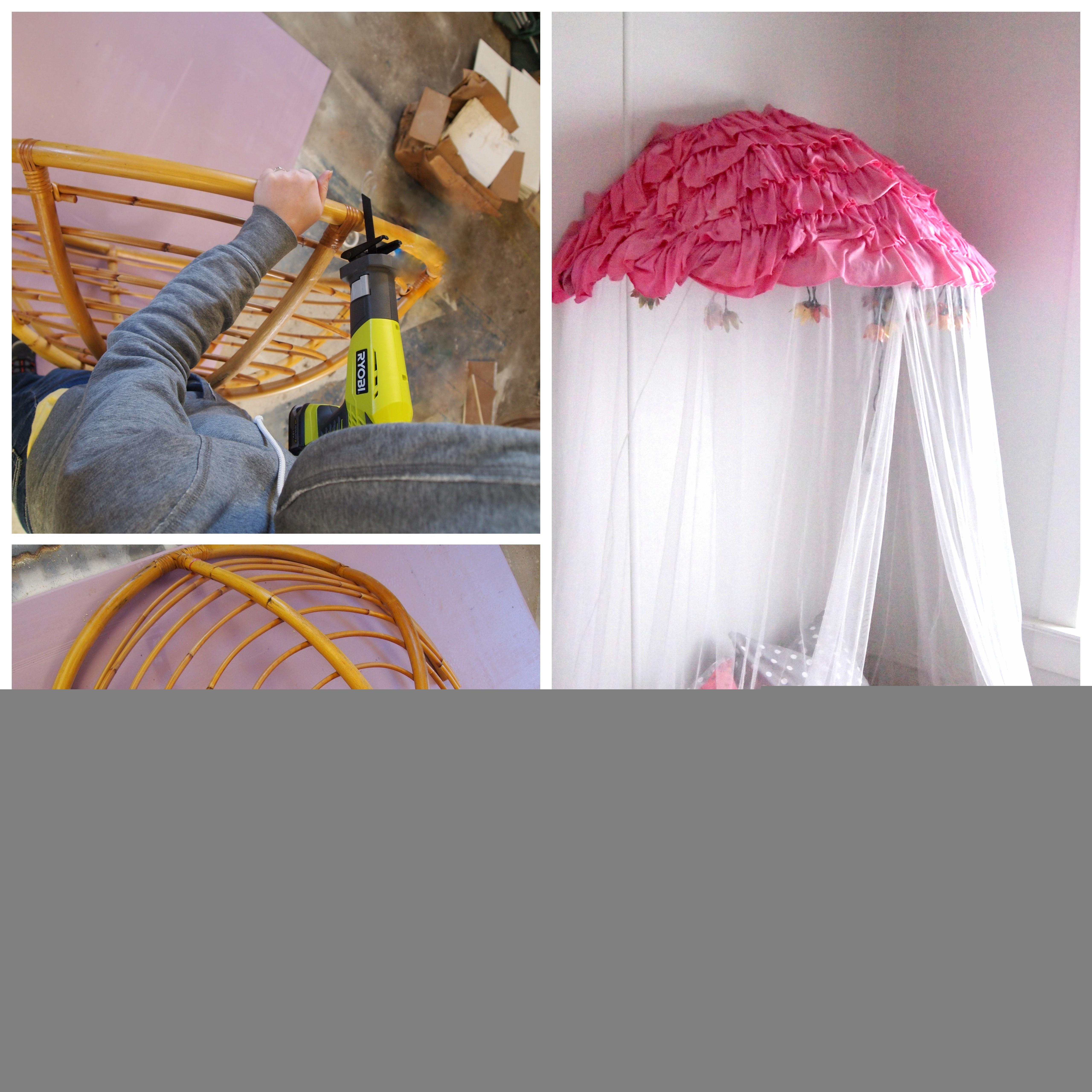 Old Papasan Turned Into Canopy Reading Nook