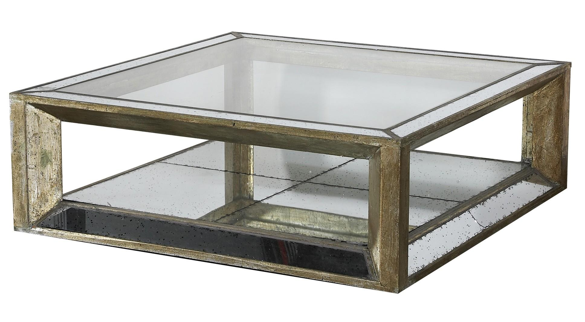 Old Style Square Mirrored Coffee Table Reclaimed