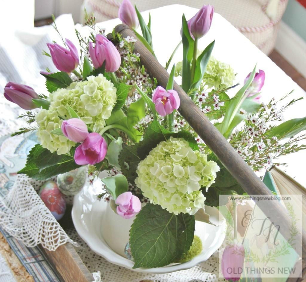 Old Things New Junky Mossy Lacy Easter Centerpiece