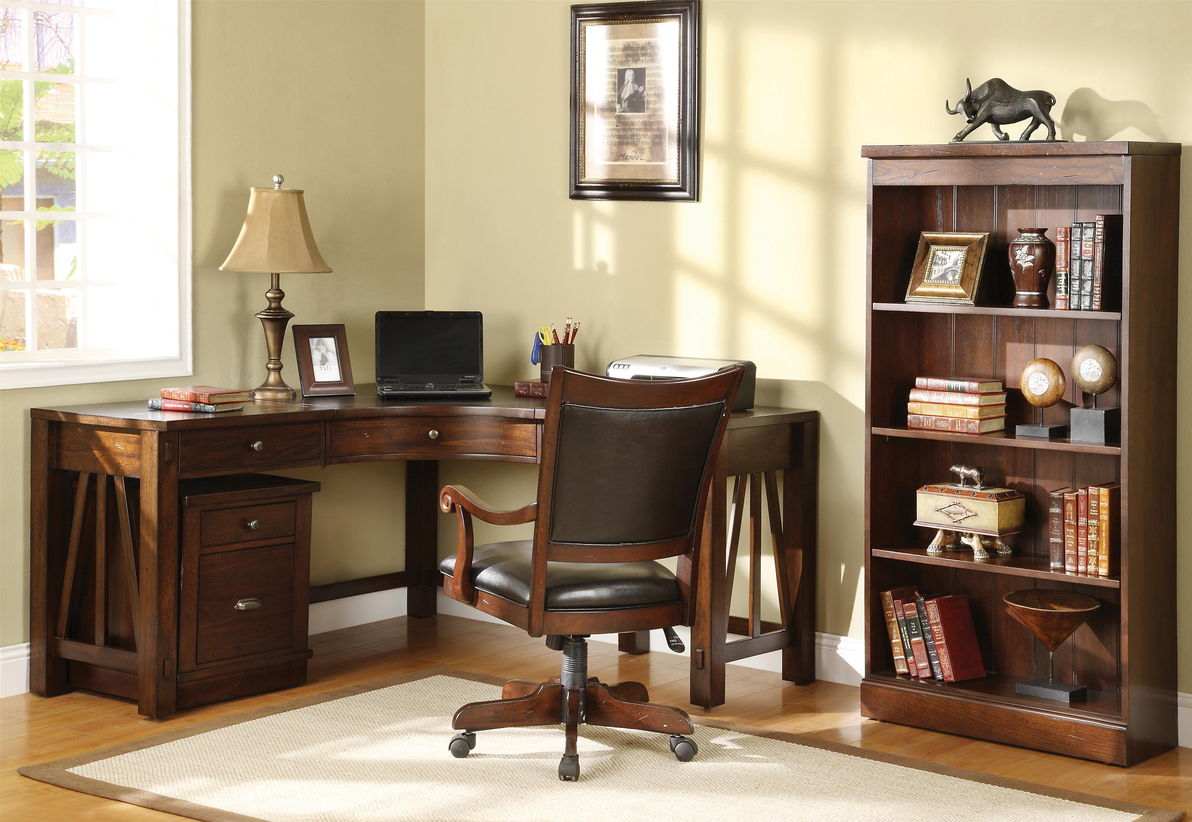 Old Traditional Shaped Oak Wood Home Office Corner