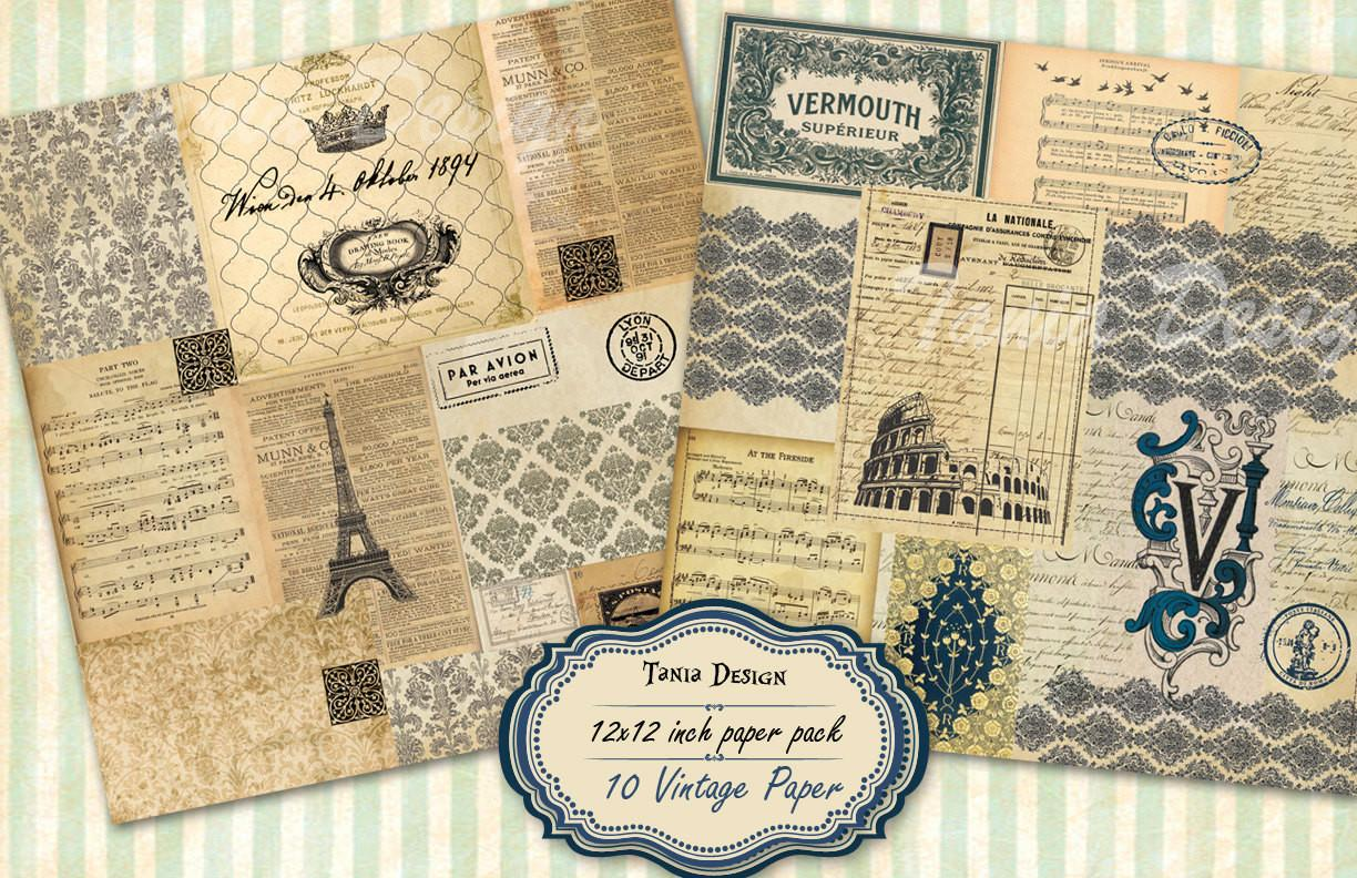 Old Travel Paper Scrapbook Decoupage Vintage