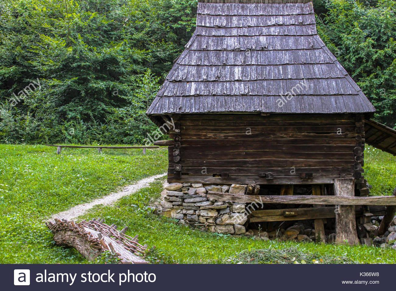 Old Wooden Rustic House Romania Stock Photos