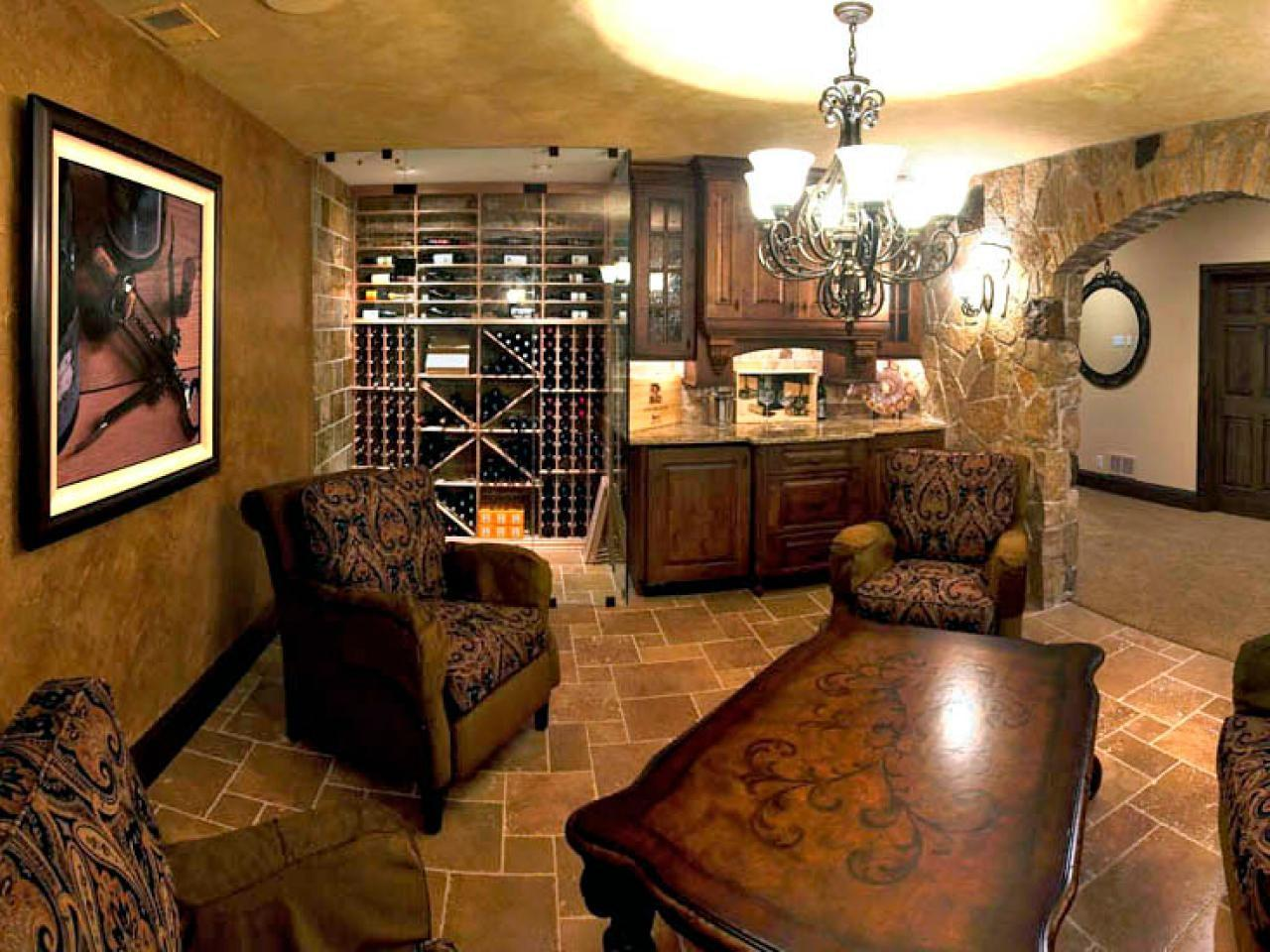 Old World Inspired Basement Wine Cellar Tasting Room