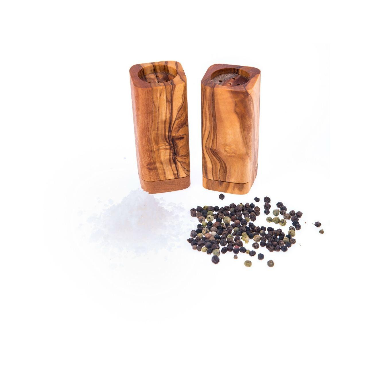 Olive Wood Salt Pepper Shakers Set Kitchen
