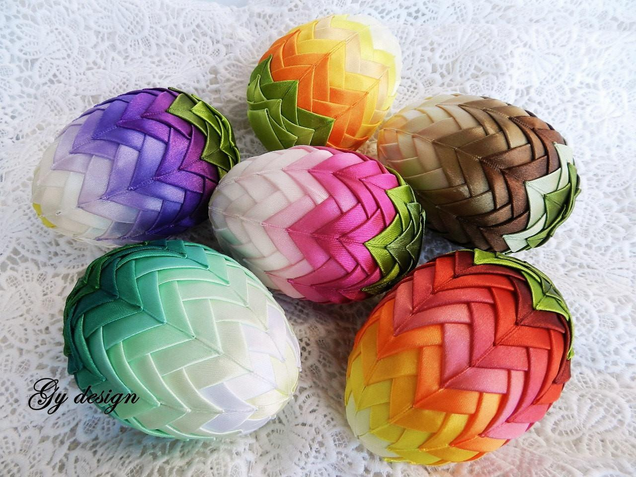 Ombre Easter Egg Decoration Quilted Ornaments Ornament