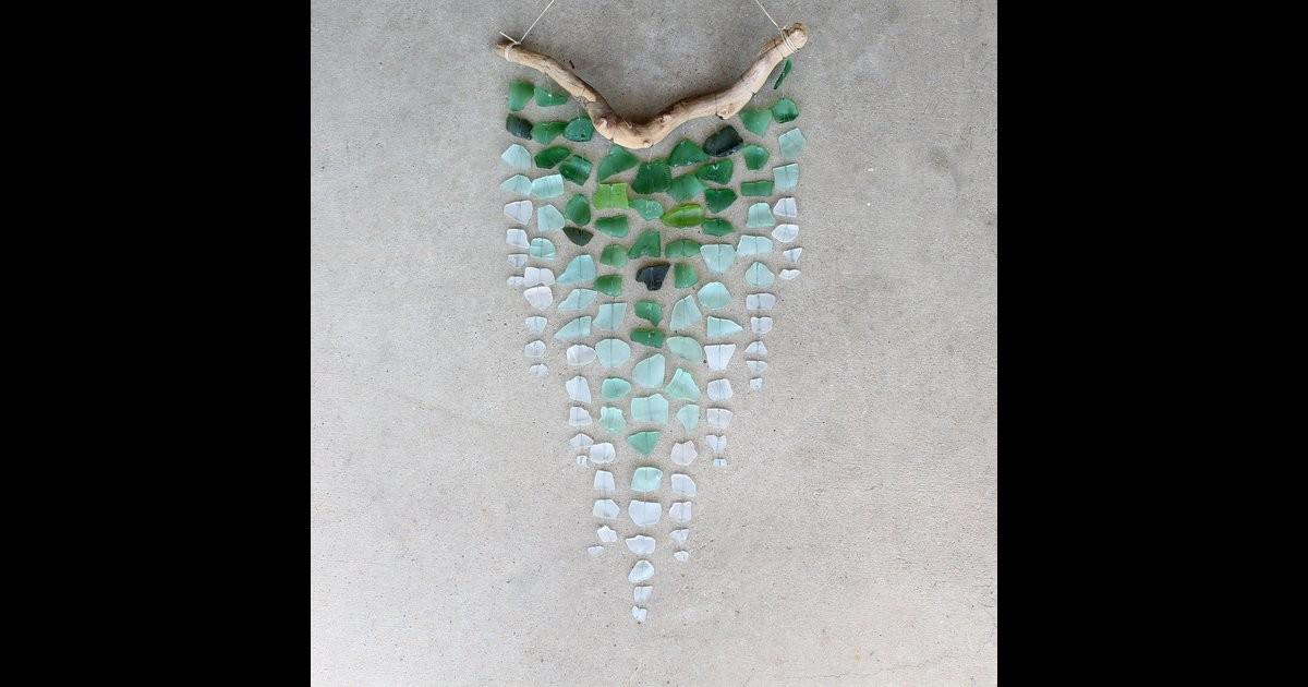 Ombre Pattern Sea Glass Driftwood Mobile
