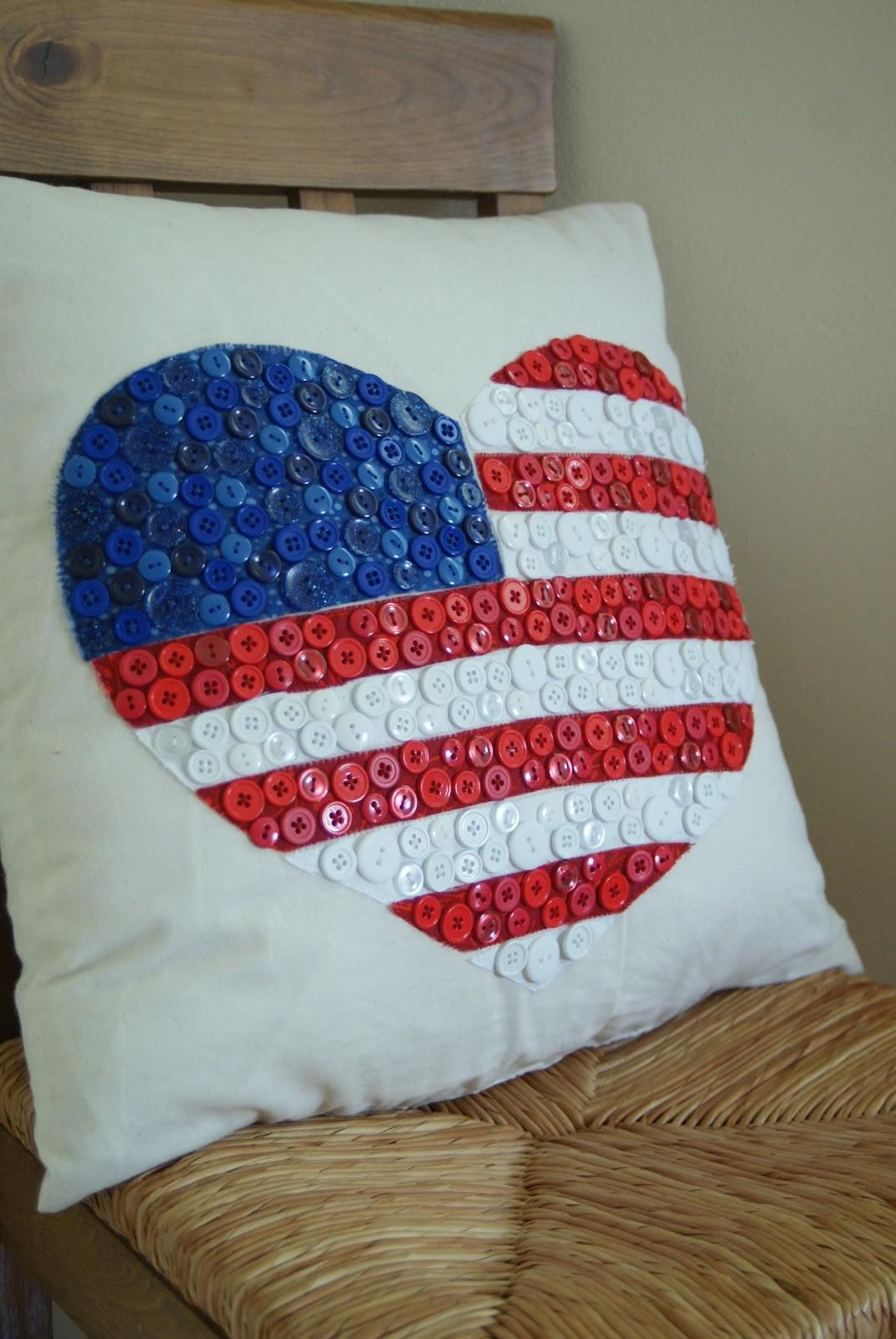 One Crafty Mama Heart Usa Button Pillow Tutorial
