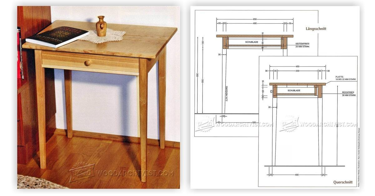 One Drawer Side Table Plans Woodarchivist