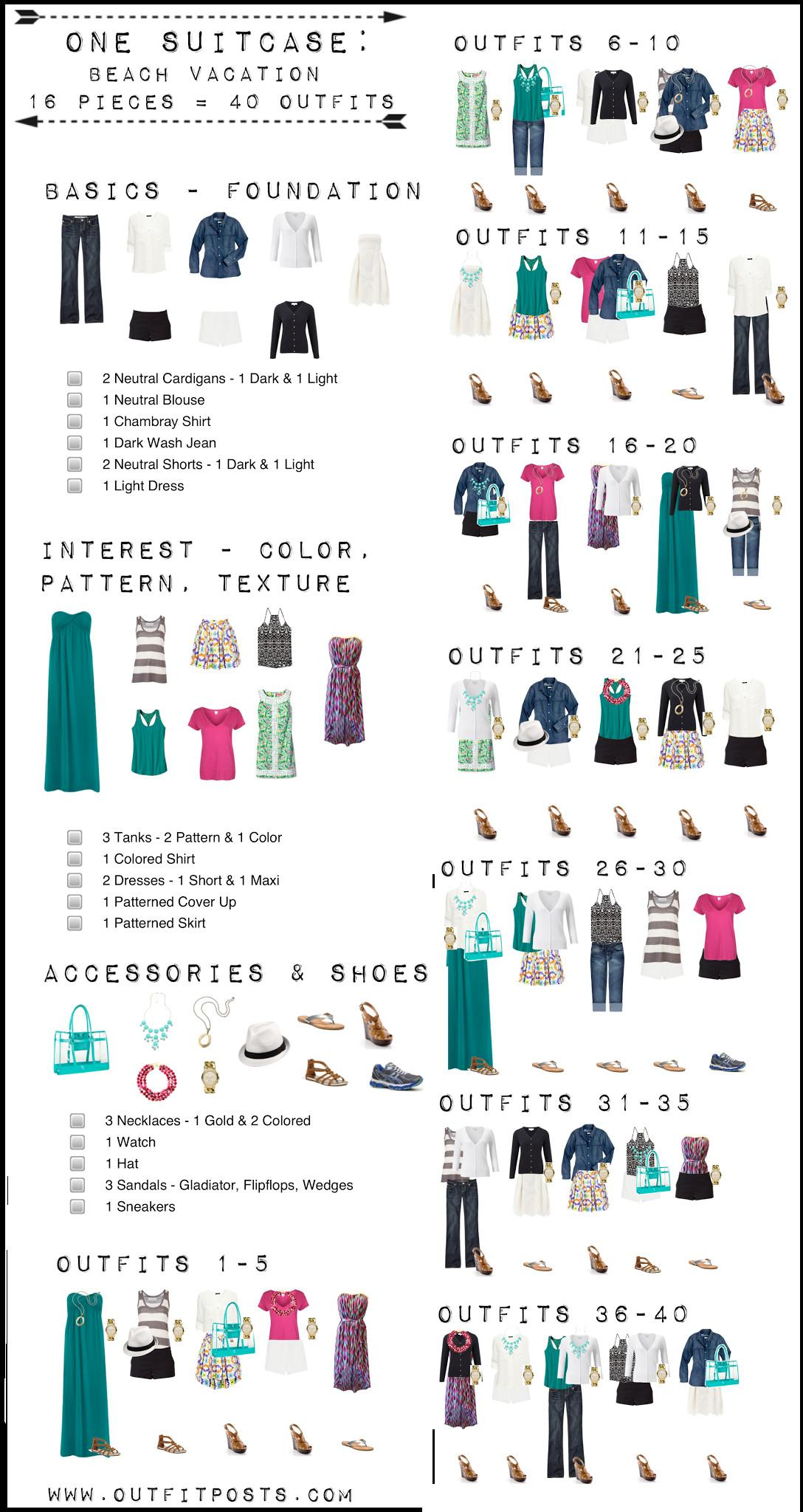One Suitcase Beach Vacation Capsule Wardrobe