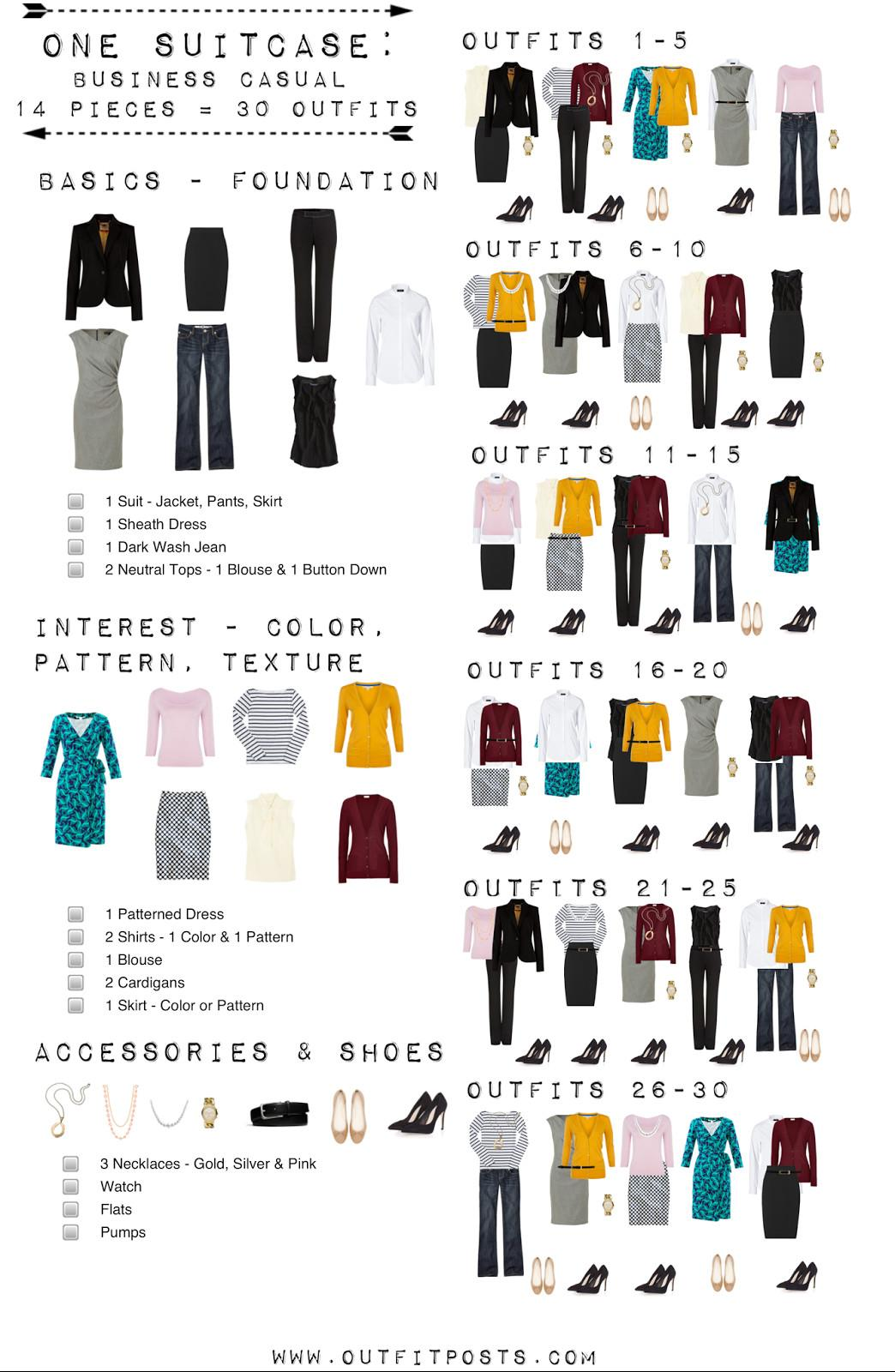 One Suitcase Business Casual Capsule Wardrobe
