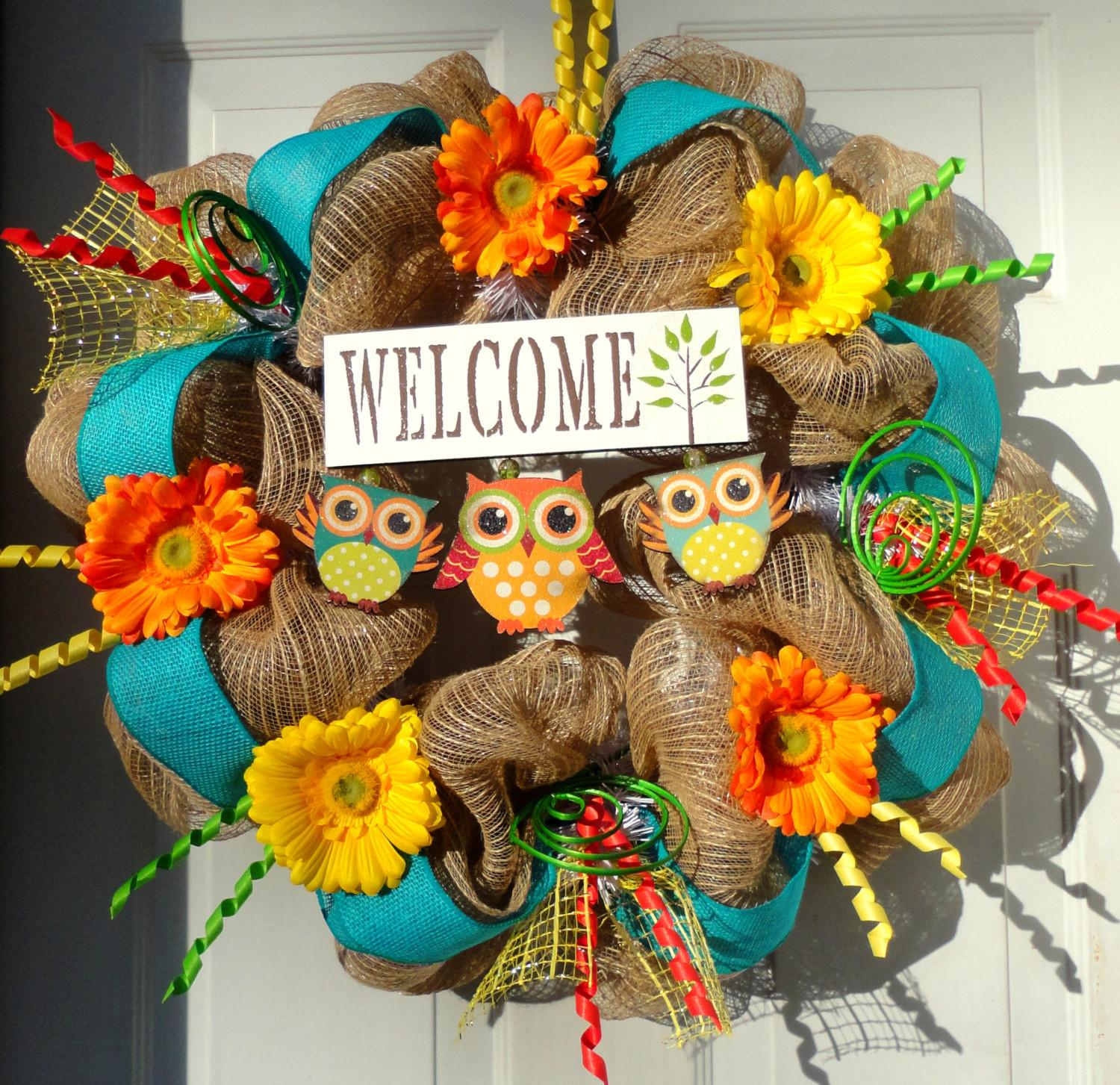 Only Left Spring Deco Mesh Wreath Summer
