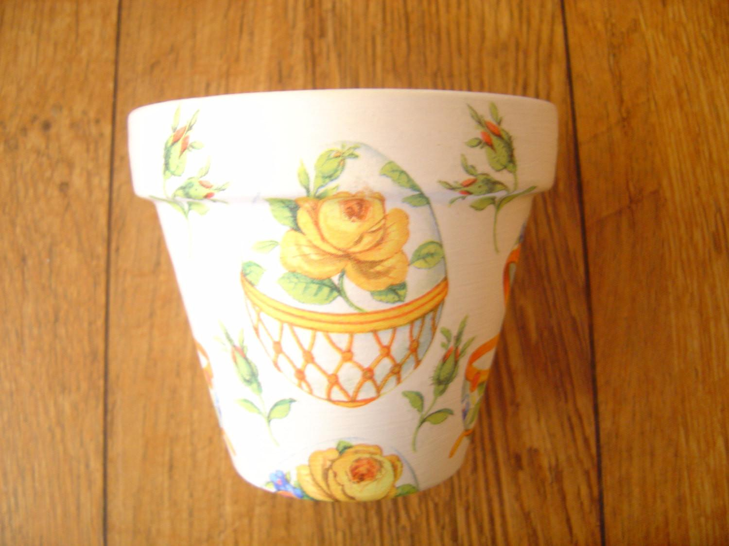 Ooak Hand Painted Decoupaged Decorative Flower