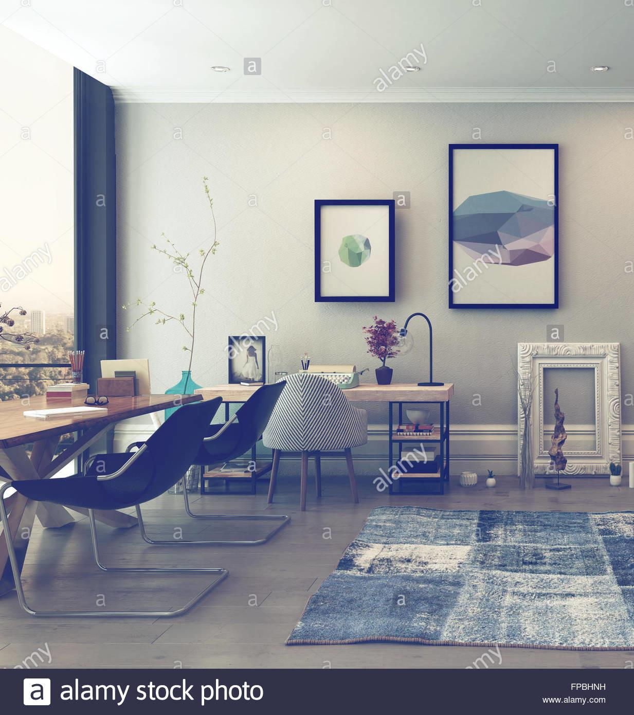 Open Concept Home Office Space Eclectic Furnishings