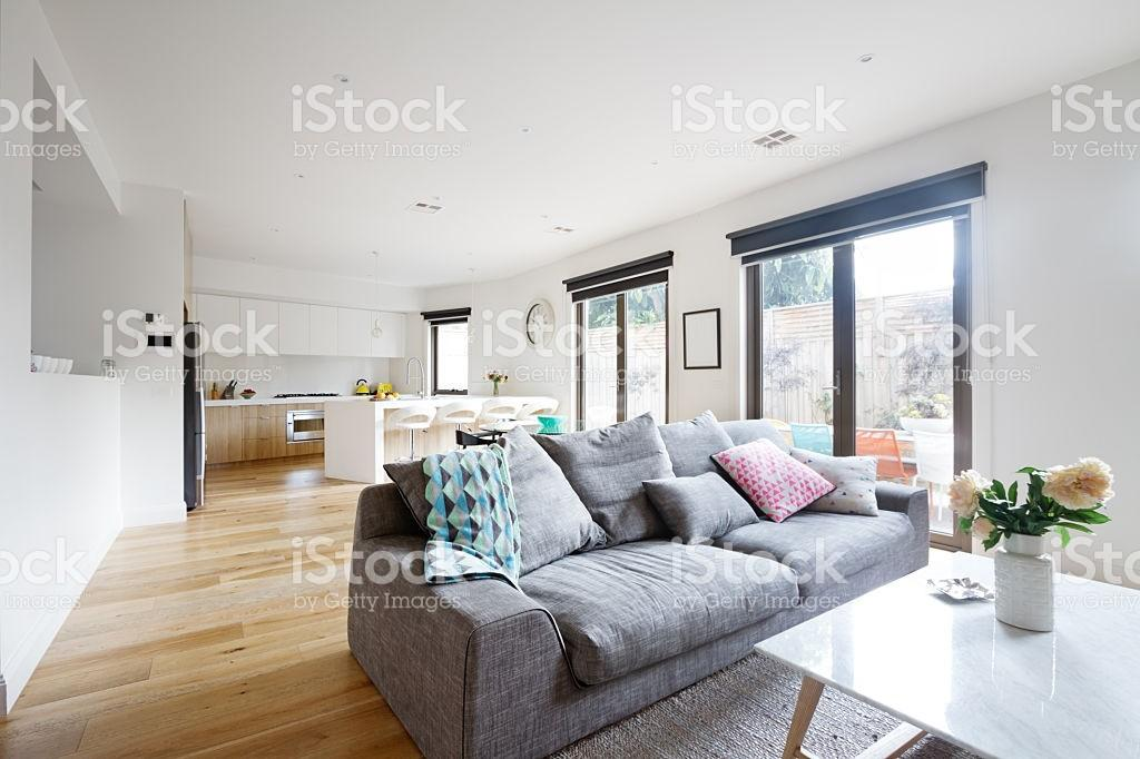 Open Plan Living Room Kitchen Contemporary Home Stock