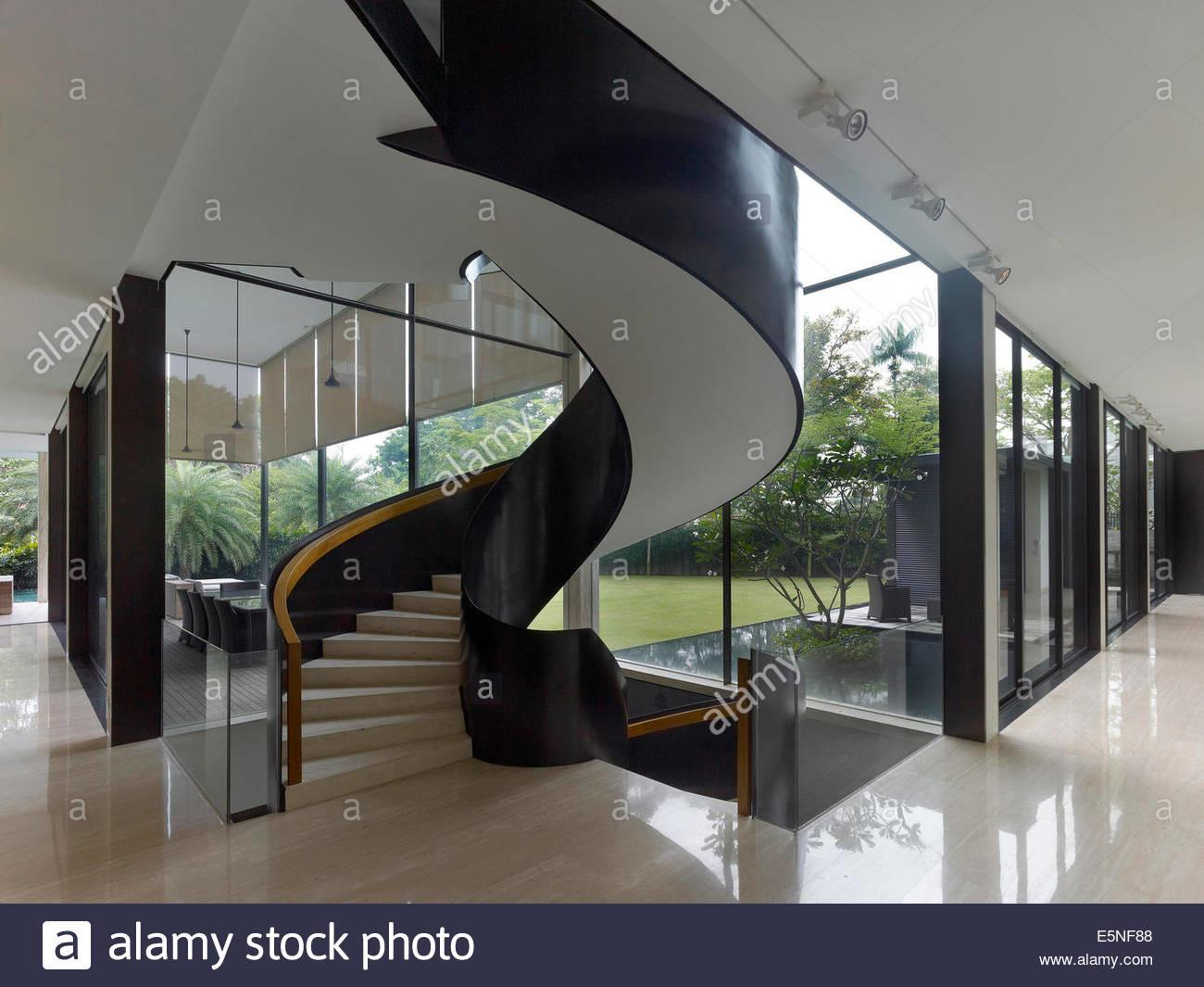 Open Plan Spiral Staircase Private Residence Queen