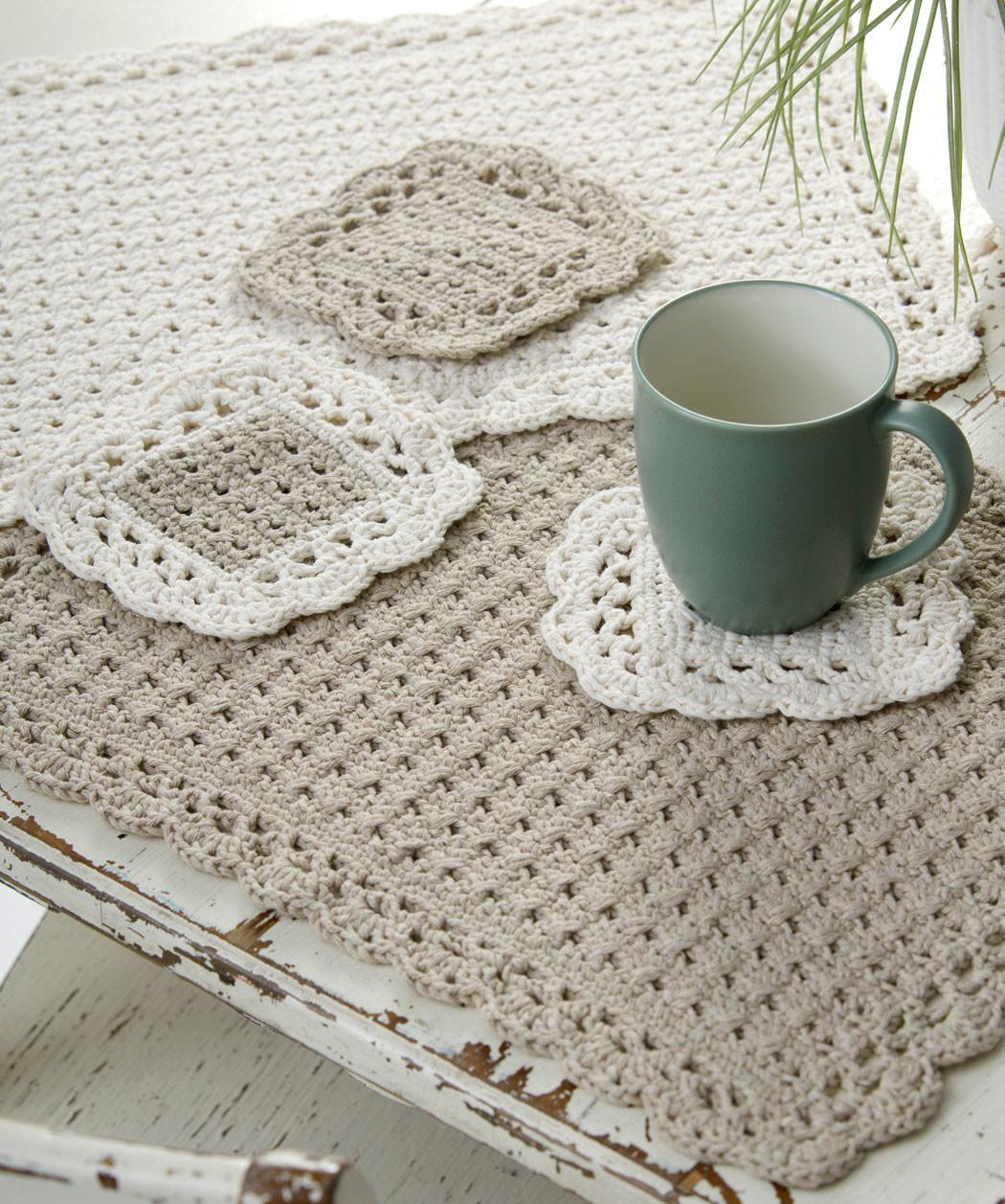 Options Placemat Coaster Crochet Pattern Red Heart