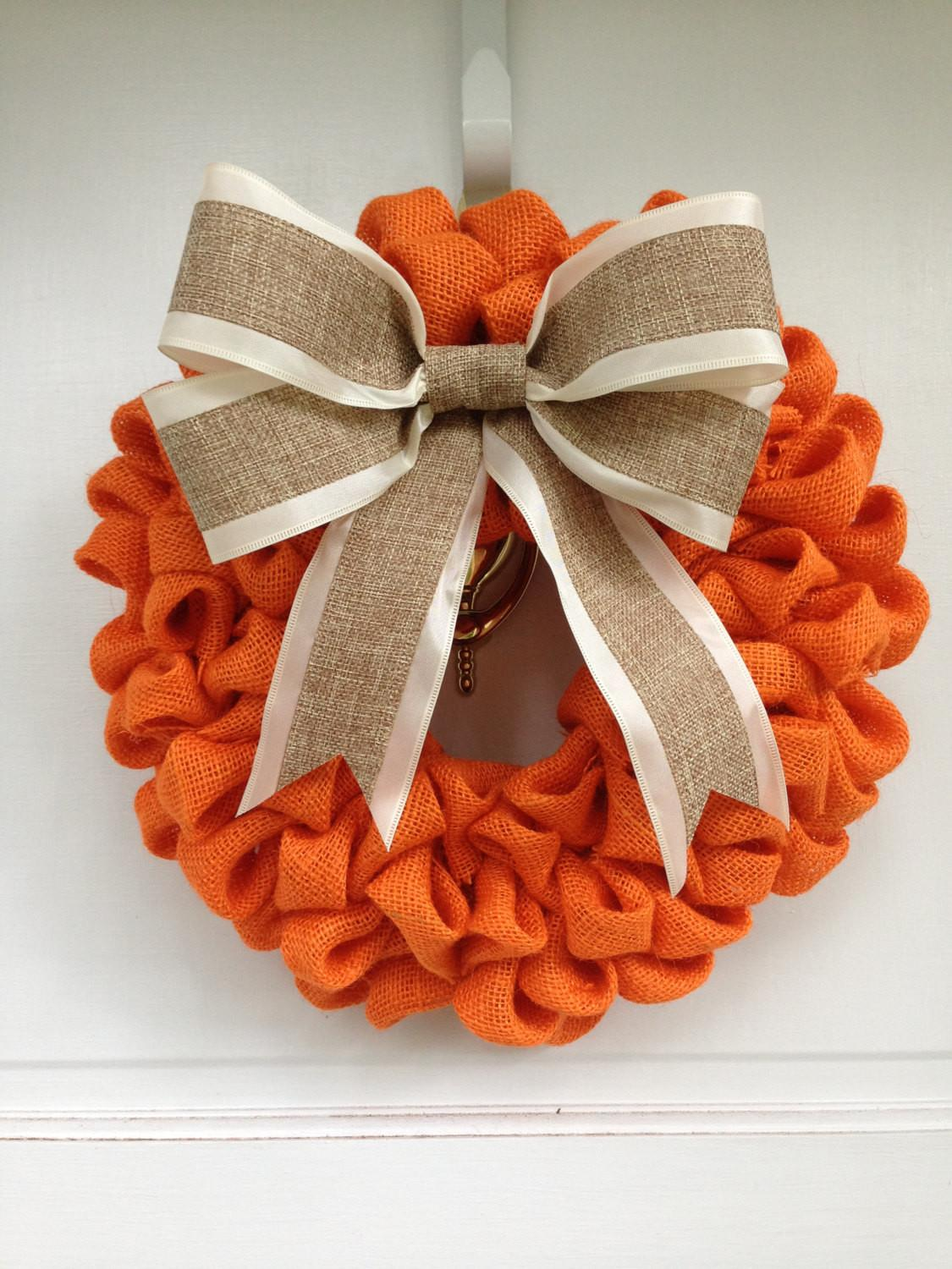 Orange Burlap Wreath Bow Thecraftysugarsnip
