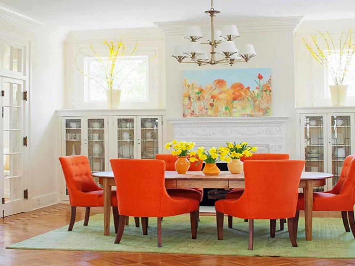 Orange Leather Chair Dining Room Chairs