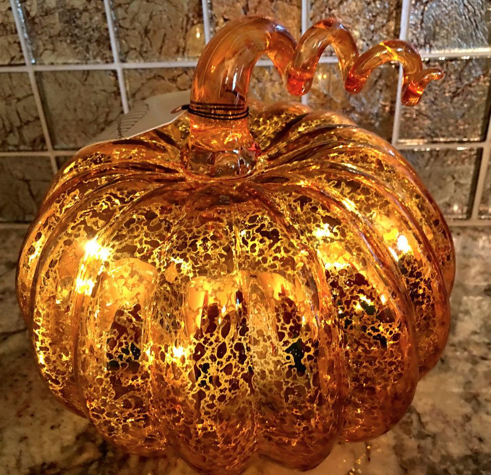 Orange Mercury Glass Halloween Led Lighted Pumpkin