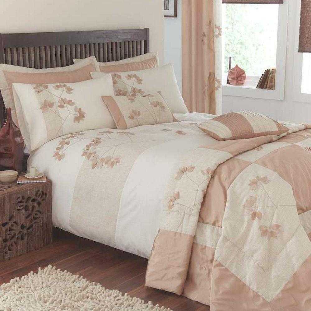 Organic Natural Beige Cream Leaf Linen Appliqu Duvet