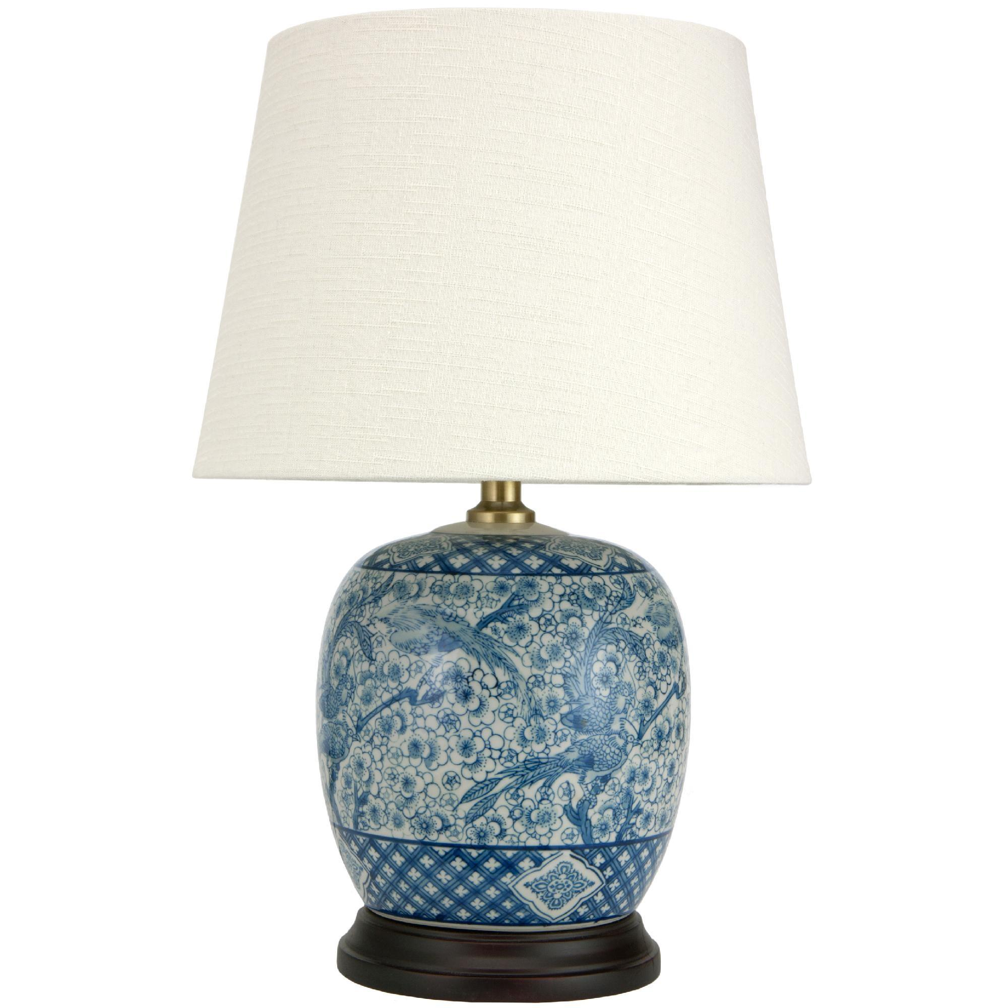 Oriental Furniture Blue White Porcelain Round Vase Lamp