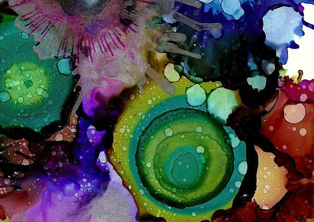 Original Alcohol Ink Painting Aceo Colorful Art Abstract