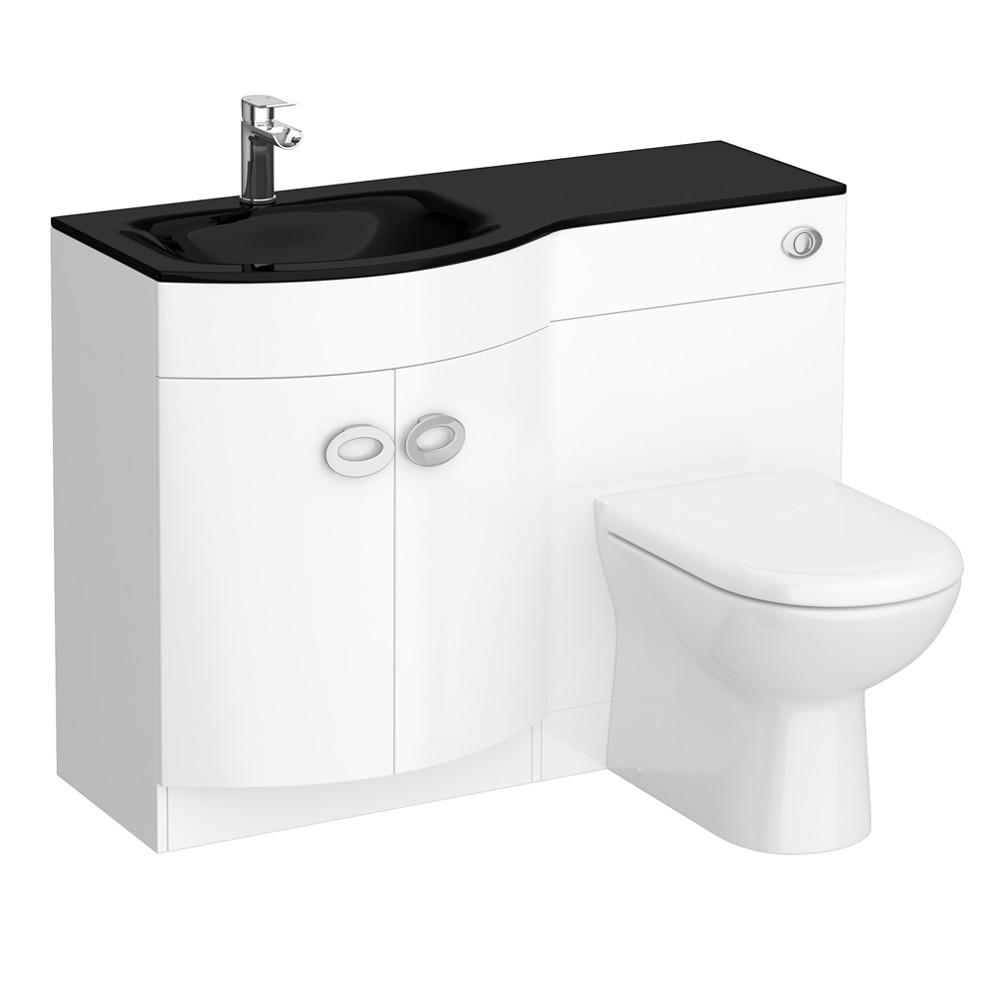Orion Black Modern Curved Combination Basin Unit