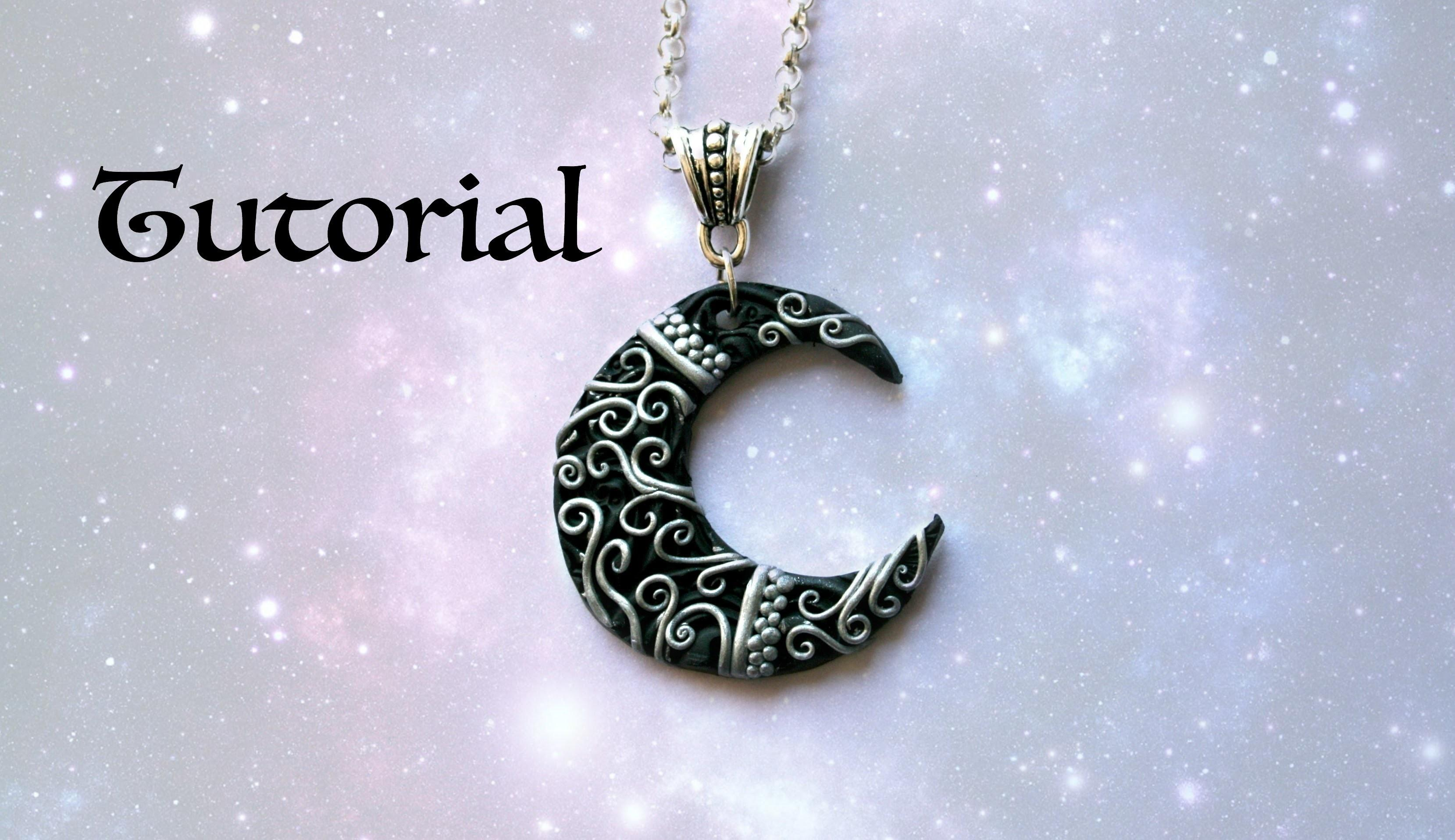 Ornate Crescent Moon Diy Pendant Polymer Clay Jewelry