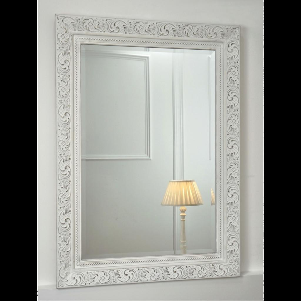 Ornate White Rectangular Mirror Amba William
