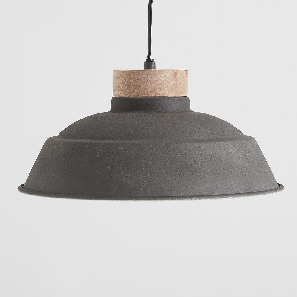 Oslo Cement Grey Wood Pendant Light