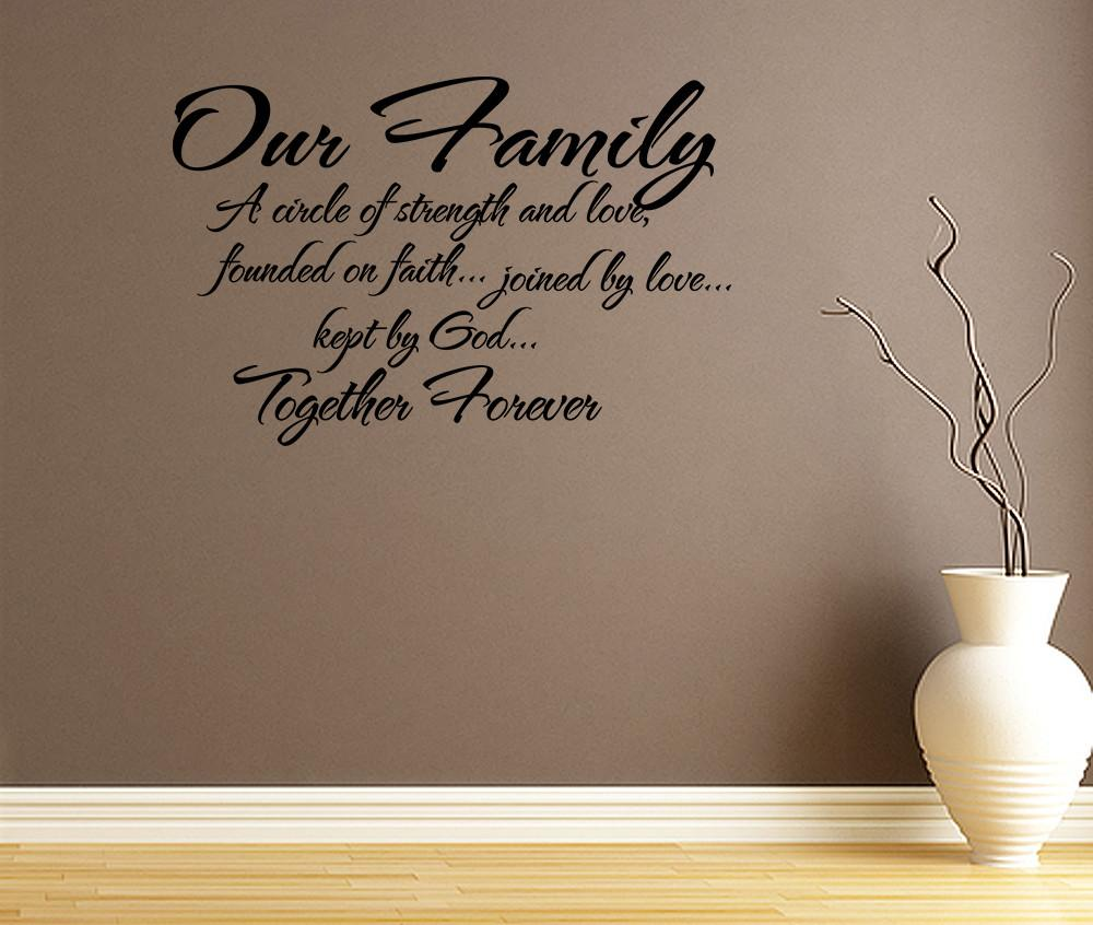 Our Family Circle Strength Love Wall Decal Quote