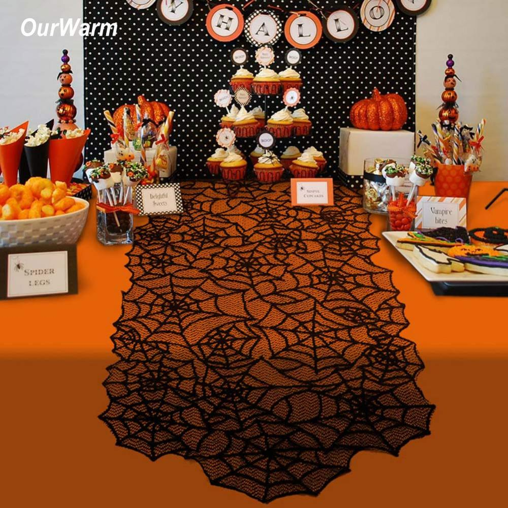 Ourwarm Halloween Party Decoration Black Table Runners
