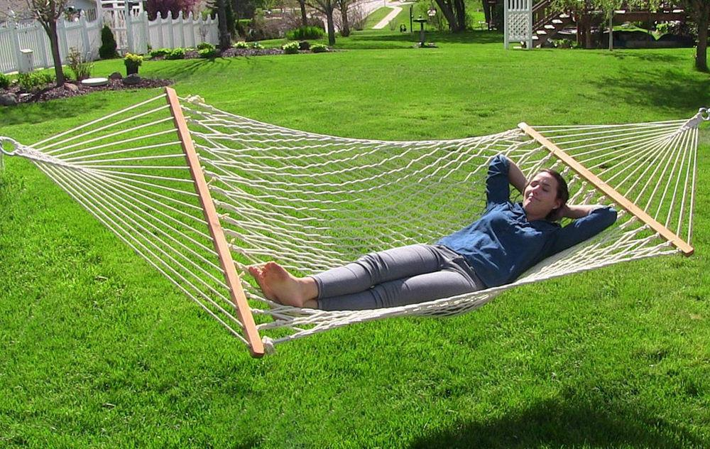 Outdoor 11ft Cotton Rope Hammock Stand Combo