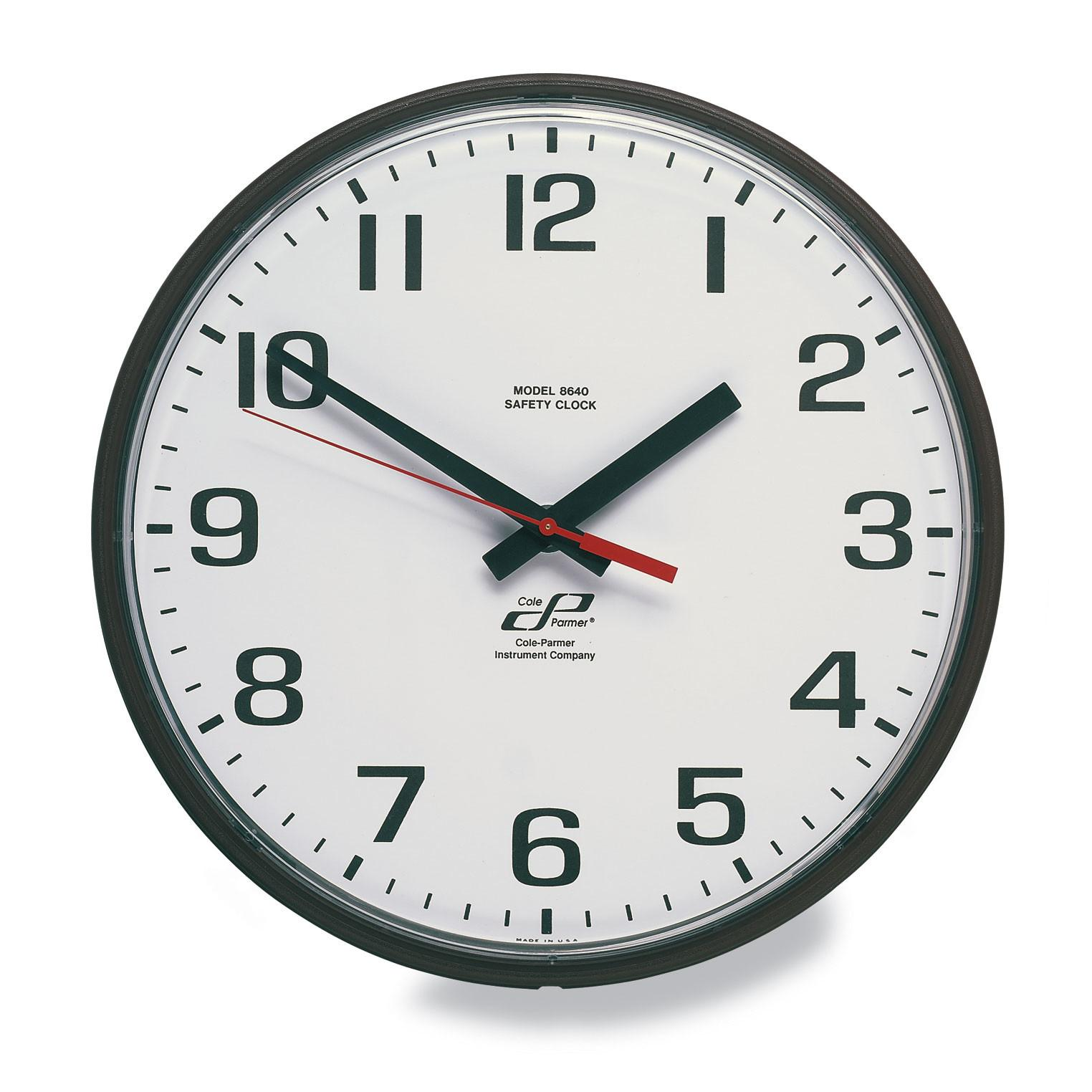 Outdoor Analog Wall Clock Black Frame White Face Battery