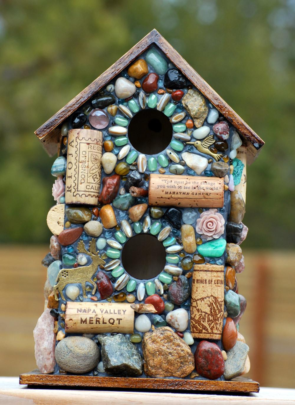 Outdoor Birdhouse Mosaic Garden Art Colorful Stones