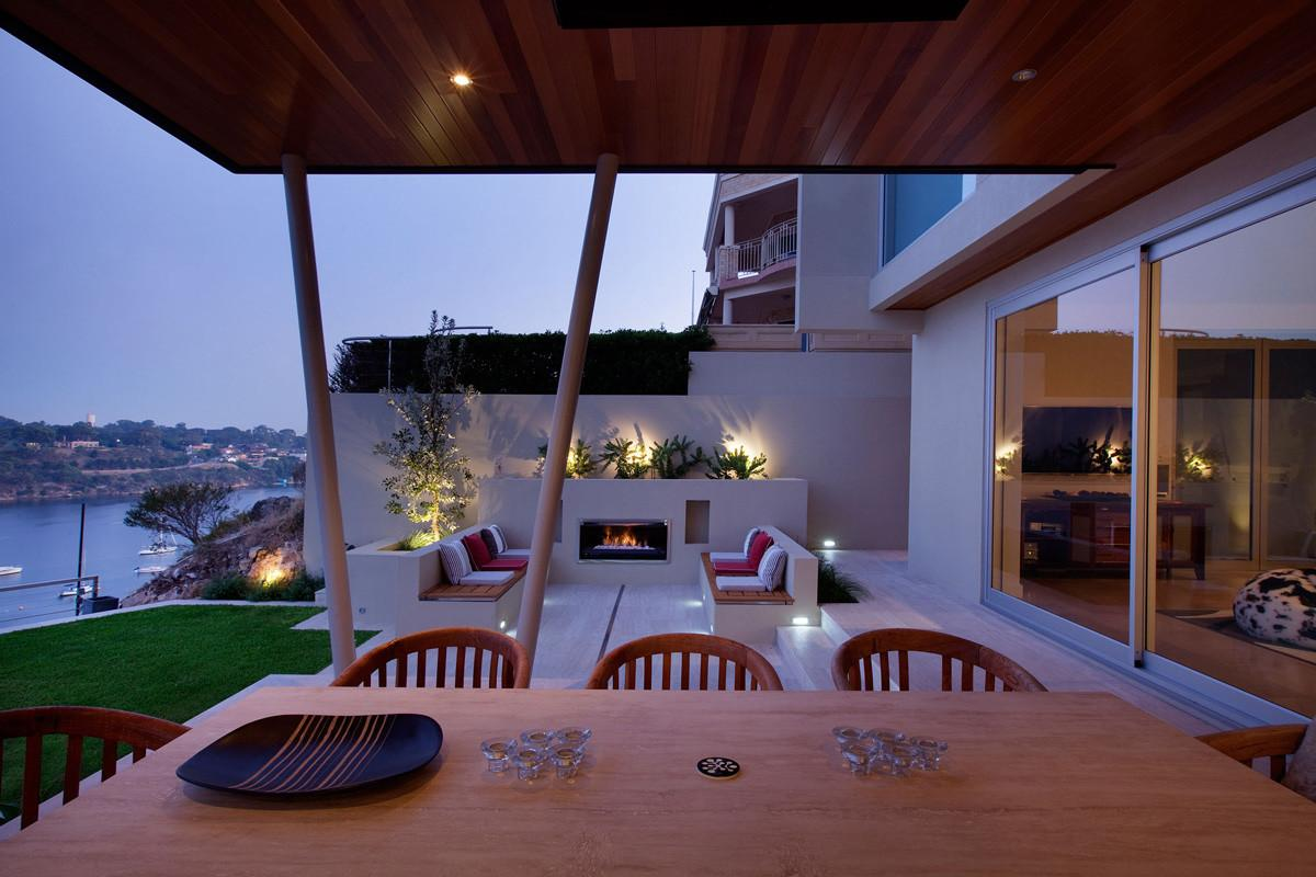 Outdoor Fireplace Living Space Stunning Riverside Home