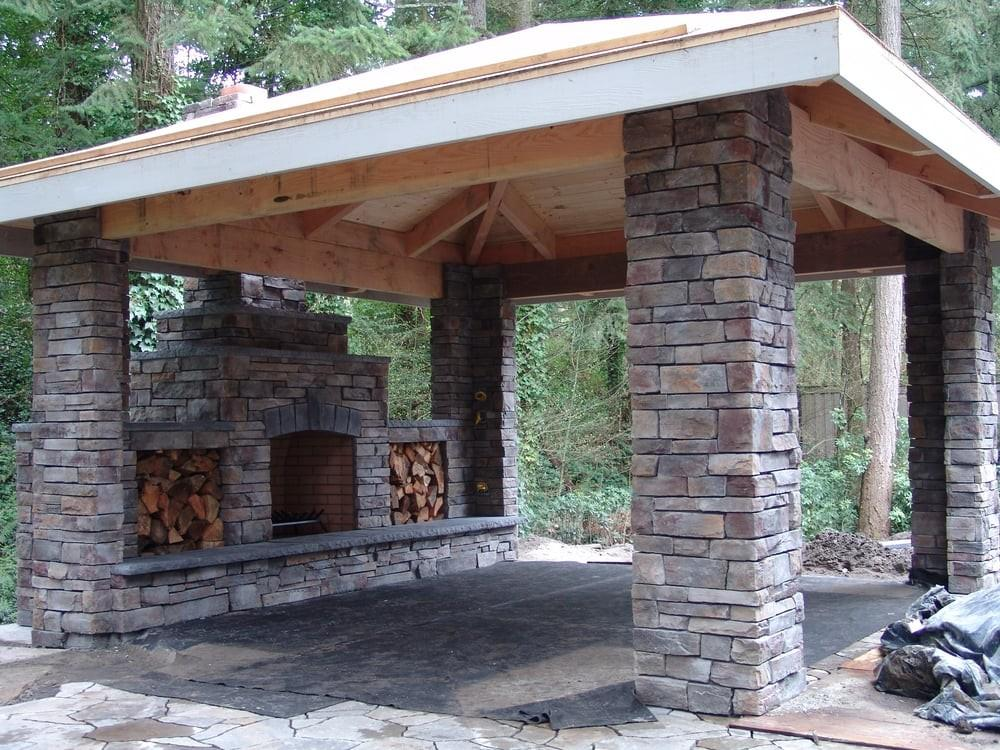 Outdoor Fireplace Patio Stone Covered