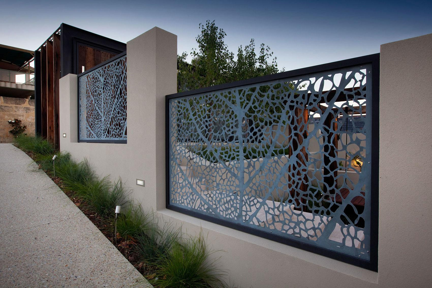 Outdoor Front Fence Designs Idea Using Black Iron